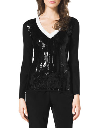 Ribbed Sequin-Front Sweater