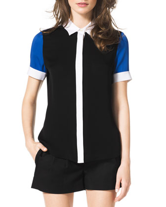 Short-Sleeve Colorblock Blouse