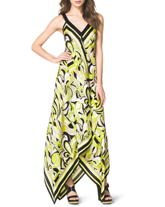 Abstract-Print Maxi Dress