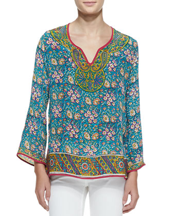 Leah Long-Sleeve Silk Tunic, Women's