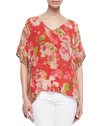 Briana Silk Mixed-Print Boxy Tunic, Women's