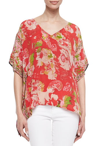 Briana Silk Mixed-Print Boxy Tunic