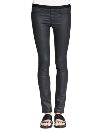 Vanish Double-Layer Tank and Coated Stretch Legging Jeans