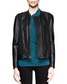 Washed Leather Combo Jacket