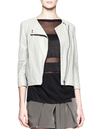 Oxum Collarless Leather Jacket, Horizon Striped Combo Top & Terra Belted ...