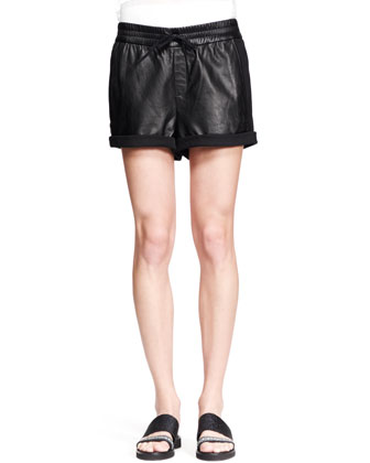 Combo Leather Drawstring Shorts