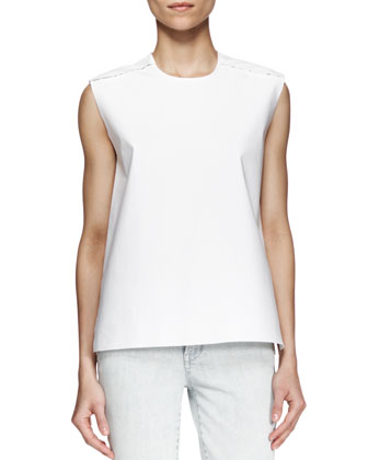 Structured Poplin Zip Top and Cropped Skinny Jeans