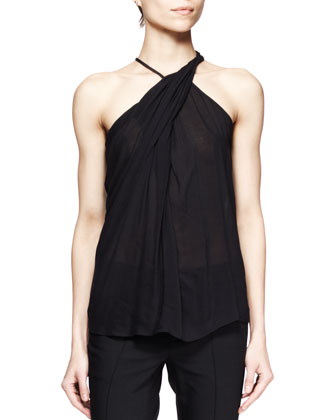 Lush Twist-Neck Voile Top