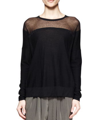 Sheer-Panel Hem Sweater and Terra Pleated Cropped Pants