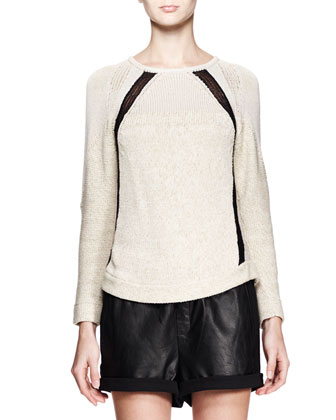 Guyton Space-Dye Knit Sweater & Combo Leather Drawstring Shorts