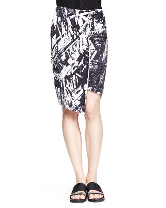 Meteor Printed Asymmetric Skirt