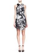 Meteor Printed Gather-Neck Dress