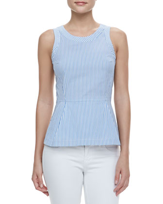 Ballise Striped Sleeveless Peplum Top, Blue/White