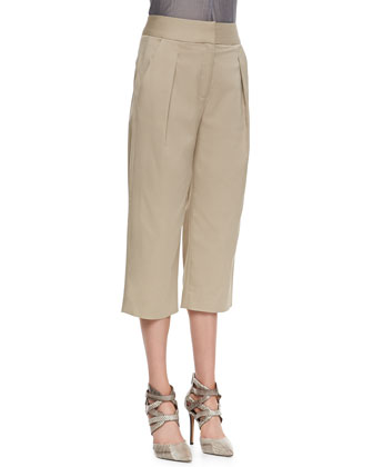 Pleated Strapless Top & Schoolboy Cropped Pants