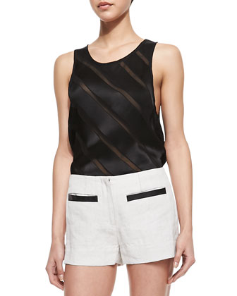 Mesh-Inset Sleeveless Top