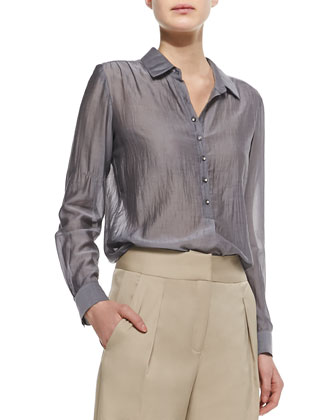 Henley Silk Long-Sleeve Blouse & Schoolboy Cropped Pants