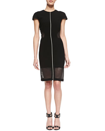 Mesh Cutout Zip-Front Dress, Black