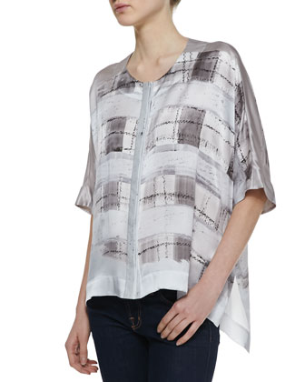 Jordana Watercolor Silk Blouse