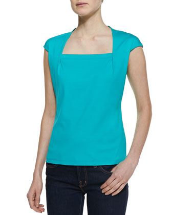 Giada Jersey Cap-Sleeve Top, Cove