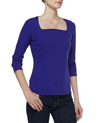 Jersey Square-Neck Top, Azurite