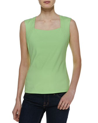Sleeveless Square-Neck Jersey Top