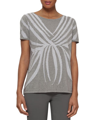 Cotton Intarsia Short-Sleeve Sweater