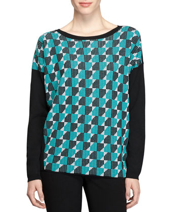 Long-Sleeve Graphic-Print Sweater