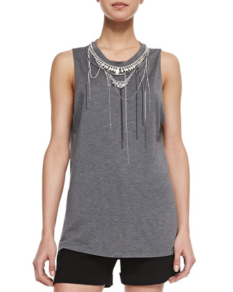 Back Lace-Inset One-Button Vest, Chain-Neck Muscle Tank Top & Crepe Tuxedo ...
