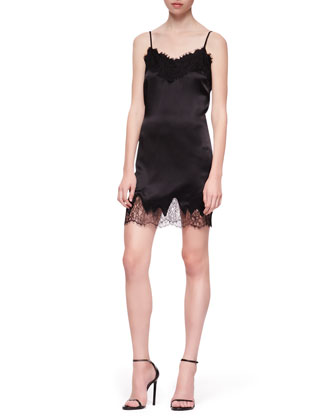 Lace-Trim Silk Camisole Dress
