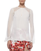 Silk Georgette Lace-Inset Blouse