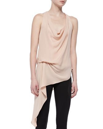 Silk Sleeveless Cowl-Neck Tunic & Ponte/Leather Ankle-Zip Leggings