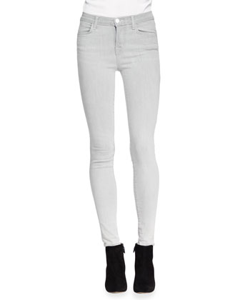 Karo Cap-Sleeve Leather Top & Mid-Rise Skinny Jeans