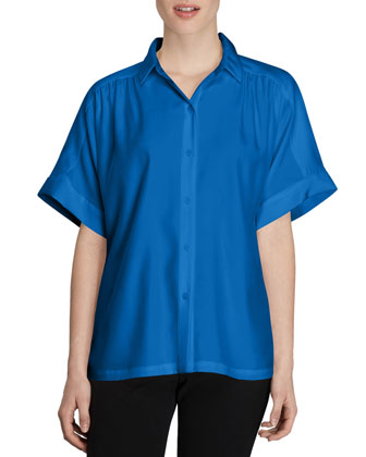 Alma Short-Sleeve Silk Blouse