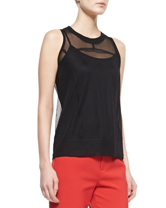 Jan Shell with Sheer Sleeveless Top, Black