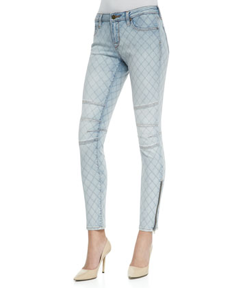 Light-Wash Biker Skinny Jeans