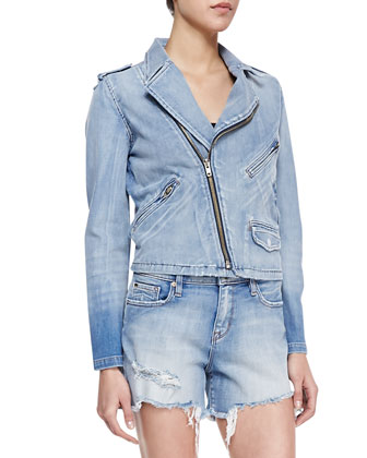 Faded Denim Biker Jacket