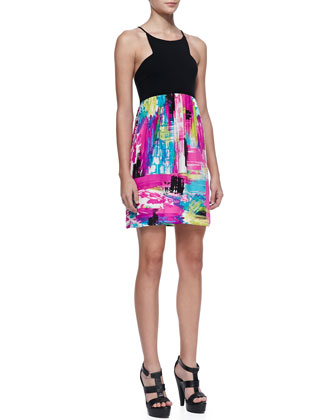 Gemma Printed Silk & Jersey Dress