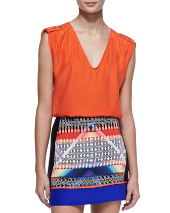Perry Sleeveless Silk Top