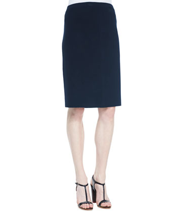 Silk-Cotton Straight Skirt, Midnight, Women's