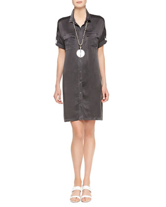 Washed Silk Shift Dress, Women's