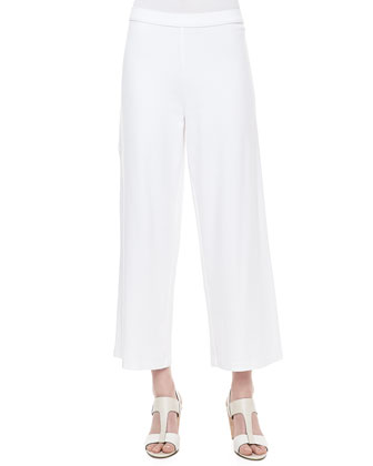 Short-Sleeve Scallop-Stitched Sweater, Scoop-Neck Cotton Tank & Wide-Leg Pants
