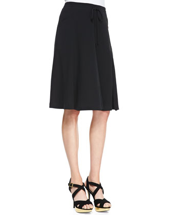 Silk Georgette Gored Knee Skirt, Black