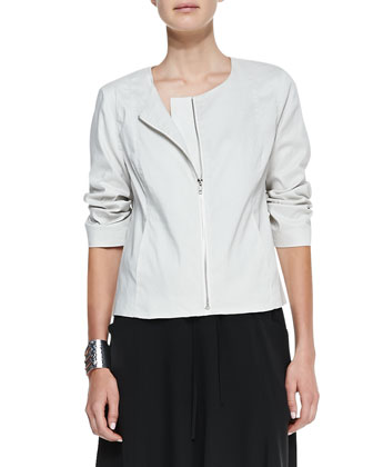 Polished Ramie A-Line Jacket, Slim Camisole, Perforated Scarf & Gored Knee ...