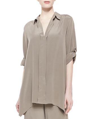 Dolman-Sleeve Silk Tunic, Women's