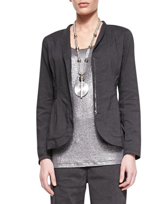 Stretch Shawl-Collar Peplum Jacket, Graphite