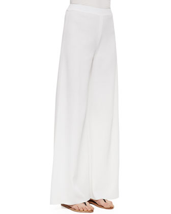 Fit & Knit Palazzo Pants, White, Women's