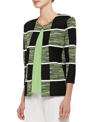 Colorblock 3/4-Sleeve Jacket, Scoop-Neck Tank & Fit/Knit Palazzo Pants, Petite