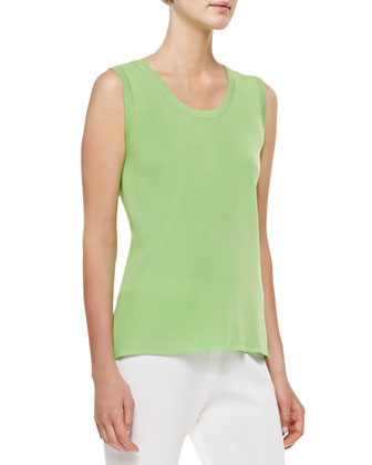 Scoop-Neck Tank, Bud Green, Petite