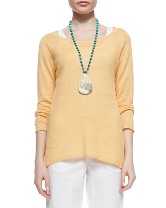 Long-Sleeve Organic Linen Knit Top, Petite