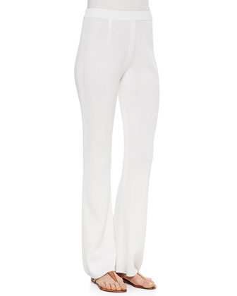 Boot-Cut Knit Pants, White. Women's